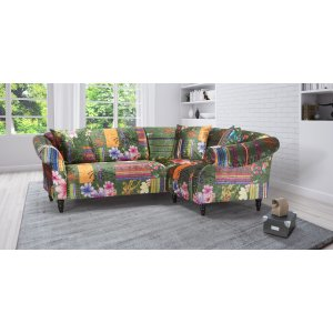 Fabric Green Patchwork 2c1 Seater Avici Shout Sofa