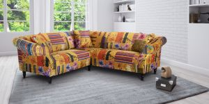 Fabric Gold Patchwork 2c2 Seater Avici Shout Sofa