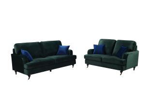 Velvet Bottle Green 3 + 2 Seater Astbury Bella Sofa Suite