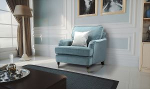 Velvet Light Blue 1 Seater Astbury Bella Sofa