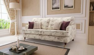 Floral Fabric Purple 3 Seater Astbury Bella Sofa