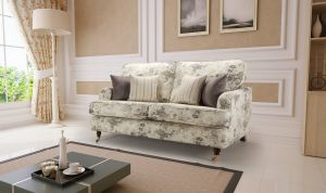 Floral Fabric Grey 2 Seater Astbury Bella Sofa