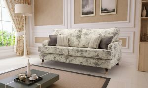 Floral Fabric Grey 3 Seater Astbury Bella Sofa