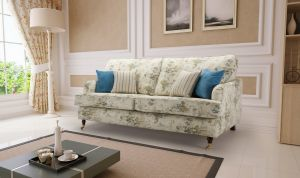 Floral Fabric Teal 3 Seater Astbury Bella Sofa