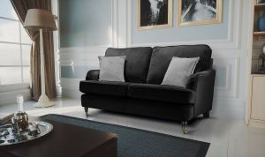 Velvet Black 2 Seater Astbury Bella Sofa