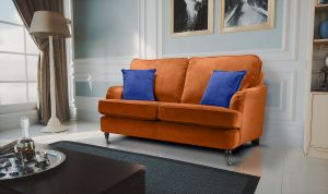 Velvet Burnt Orange 2 Seater Astbury Bella Sofa