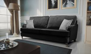 Velvet Black 3 Seater Astbury Bella Sofa