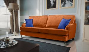 Velvet Burnt Orange 3 Seater Astbury Bella Sofa