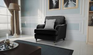 Velvet Black 1 Seater Astbury Bella Sofa