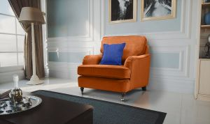Velvet Burnt Orange 1 Seater Astbury Bella Sofa