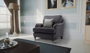 Velvet Dark Grey 1 Seater Astbury Bella Sofa