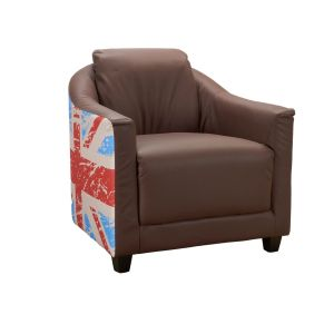Genuine Leather Brown Aviator Tub Chair with Flag