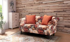 Velvet Orange Floral 2 Seater Avici Shout Sofa With Accent Cushions