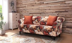 Velvet Floral Orange 3 Seater Avici Shout Sofa With Accent Cushions