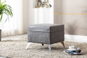 Leather Air Grey Banksy Footstool