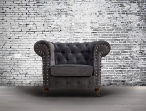 Fabric Chesterfield Chenille Slate Grey 1 Seater Belmont Sofa