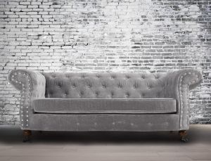 Fabric Chesterfield Chenille Seal Grey 2 Seater Belmont Sofa