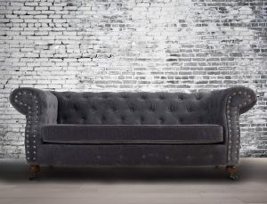 Fabric Chesterfield Chenille Slate Grey 2 Seater Belmont Sofa