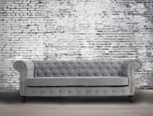 Fabric Chesterfield Chenille Seal Grey 3 Seater Belmont Sofa