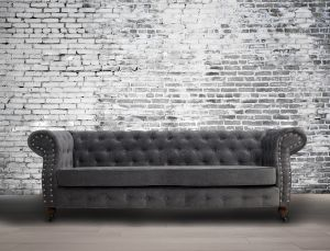 Fabric Chesterfield Chenille Slate Grey 3 Seater Belmont Sofa