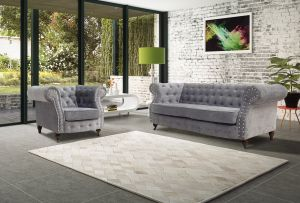 Fabric Chesterfield Chenille Seal Grey 3 + 1 Seater Belmont Sofa
