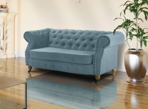 Velvet Chesterfield Light Blue Blue 2 Seater Belmont Sofa