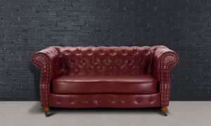 Leather Chesterfield Burgundy 2 Seater Belmont Sofa