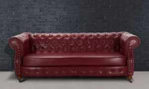 Leather Chesterfield Burgundy 3 Seater Belmont Sofa