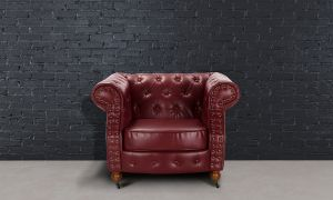 Leather Chesterfield Burgundy 1 Seater Belmont Sofa