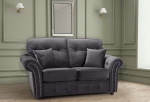Velvet Dark Grey 2 Seater Bella Sofa with High Back and Reversible Cushions