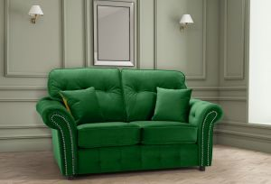 Velvet Emerald Green 2 Seater Bella Sofa with High Back and Reversible Cushions