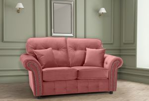 Velvet Dusky Pink 2 Seater Bella Sofa with High Back and Reversible Cushions