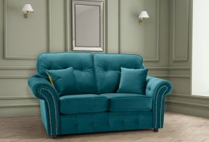 Velvet Teal / Turqouise 2 Seater Bella Sofa with High Back and Reversible Cushions