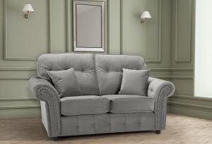 Velvet Light Grey 2 Seater Bella Sofa with High Back and Reversible Cushions