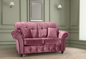 Crushed Velvet Mulberry 2 Seater Bella Sofa with High Back