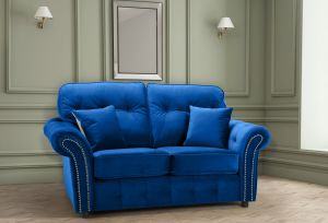 Velvet Blue 2 Seater Bella Sofa with High Back and Reversible Cushions