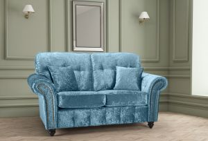 Crushed Velvet Aqua Blue 2 Seater Bella Sofa with High Back