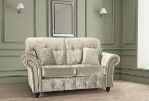 Crushed Velvet Cream 2 Seater Bella Sofa with High Back