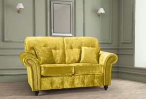 Crushed Velvet Gold 2 Seater Bella Sofa with High Back