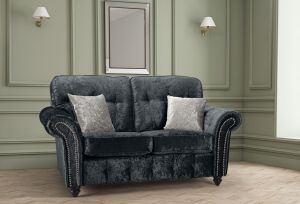 Crushed Velvet Black 2 Seater Bella Sofa with High Back and Reversible Cushions