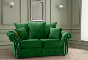 Velvet Emerald Green 2 Seater Bella Sofa with Reversible Cushions