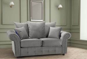Velvet Light Grey 2 Seater Bella Sofa with Reversible Cushions