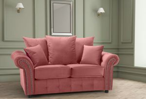 Velvet Dusky Pink 2 Seater Bella Sofa with Reversible Cushions