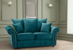Velvet Teal / Turquoise 2 Seater Bella Sofa with Reversible Cushions