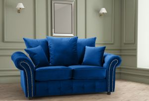 Velvet Blue 2 Seater Bella Sofa with Reversible Cushions