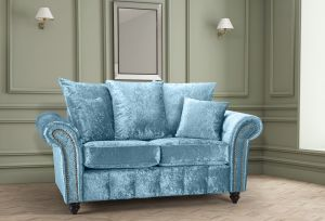 Crushed Velvet Aqua Blue 2 Seater Bella Sofa