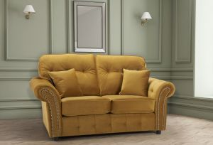 Velvet Gold 2 Seater Bella Sofa with High Back and Reversible Cushions