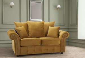 Velvet Gold 2 Seater Bella Sofa with Reversible Cushions