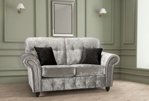 Crushed Velvet Silver 2 Seater Bella Sofa with High Back and Reversible Cushions