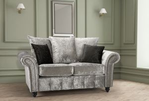 Crushed Velvet Silver 2 Seater Bella Sofa with Reversible Cushions